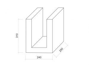 kształtka wieńcowa U - rysunek techniczny. Lewtak - producent prefabrykatów betonowych
